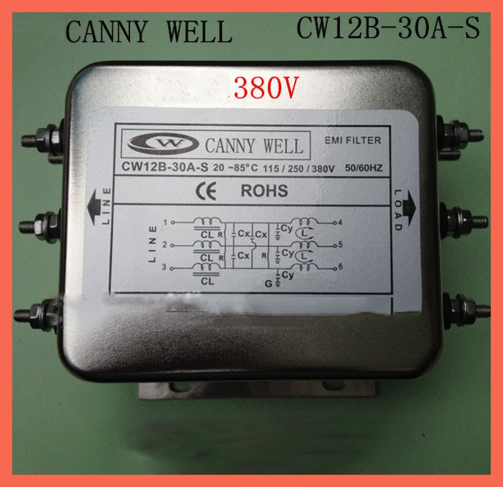 CANNY WELL EMI power filter with three-phase 380 v CW12B-30A- S EMI Filter Electronic Components power supply filter original power supply filter rsen 2006 tdk lambda meilan universal single phase filter