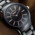 DOM Relogio feminino Mulheres Relógios Strass Relógio de Quartzo Das Mulheres do Relógio de Cerâmica Borboleta Fecho Preto Mulheres Relógio Montre Femme