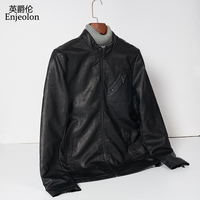 Enjeolon brand concise men pu leather jacket stand collar men jacket leather clothes fashion cool jacket P255