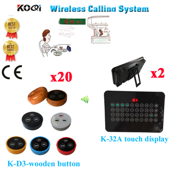 Wireless Service Pager System Good Price 433.92MHZ Of Restaurant Pager With Strong Signal 100-200M(2 display+20 call button)