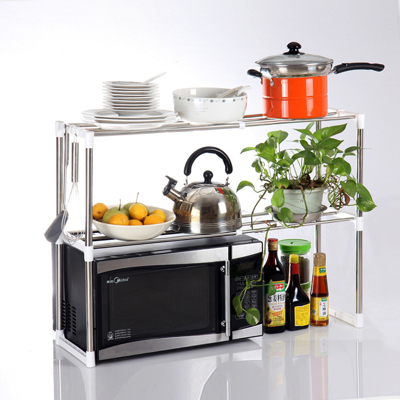 Double-layer Stainless Steel Microwave Oven Shelf Rack Standing Type Adjustable Kitchen Tableware Shelves Home Storage Holders