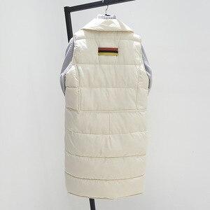 Image 3 - Grande taille XL femmes hiver gilets 2018 nouveau moyen Long gilet coton rembourré veste sans manches femme revers gilet gilet