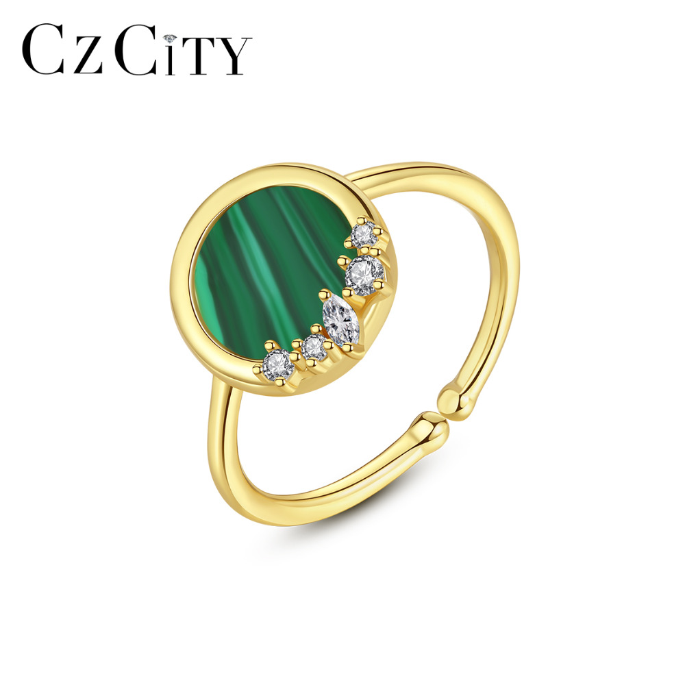 CZCITY 925 Sterling Silver Rings For Women Fine Jewelry Party Resizable Turquoise Anillos Joyeria Fina Para Mujer Gifts SR0349