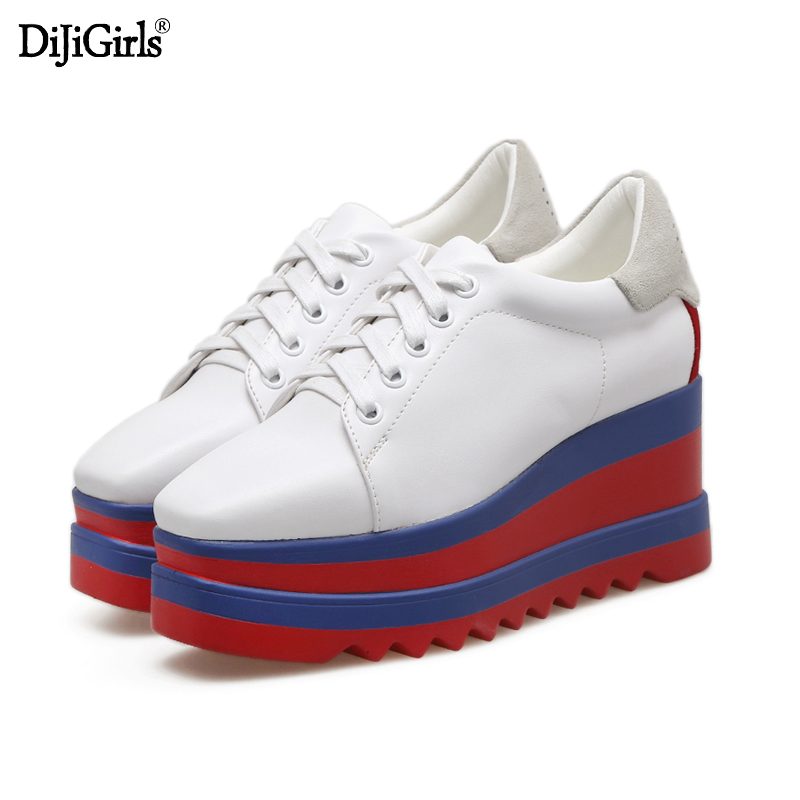 Dijigirls Platform Wedges Shoes 7CM Woman's High Heels Fashion Square Toe Lace Up Platform Heels Casual Women Creepers europe america fashion star cutout lace up high heel shoes for women square toe platform wedges brogue oxford casual shoes us 10