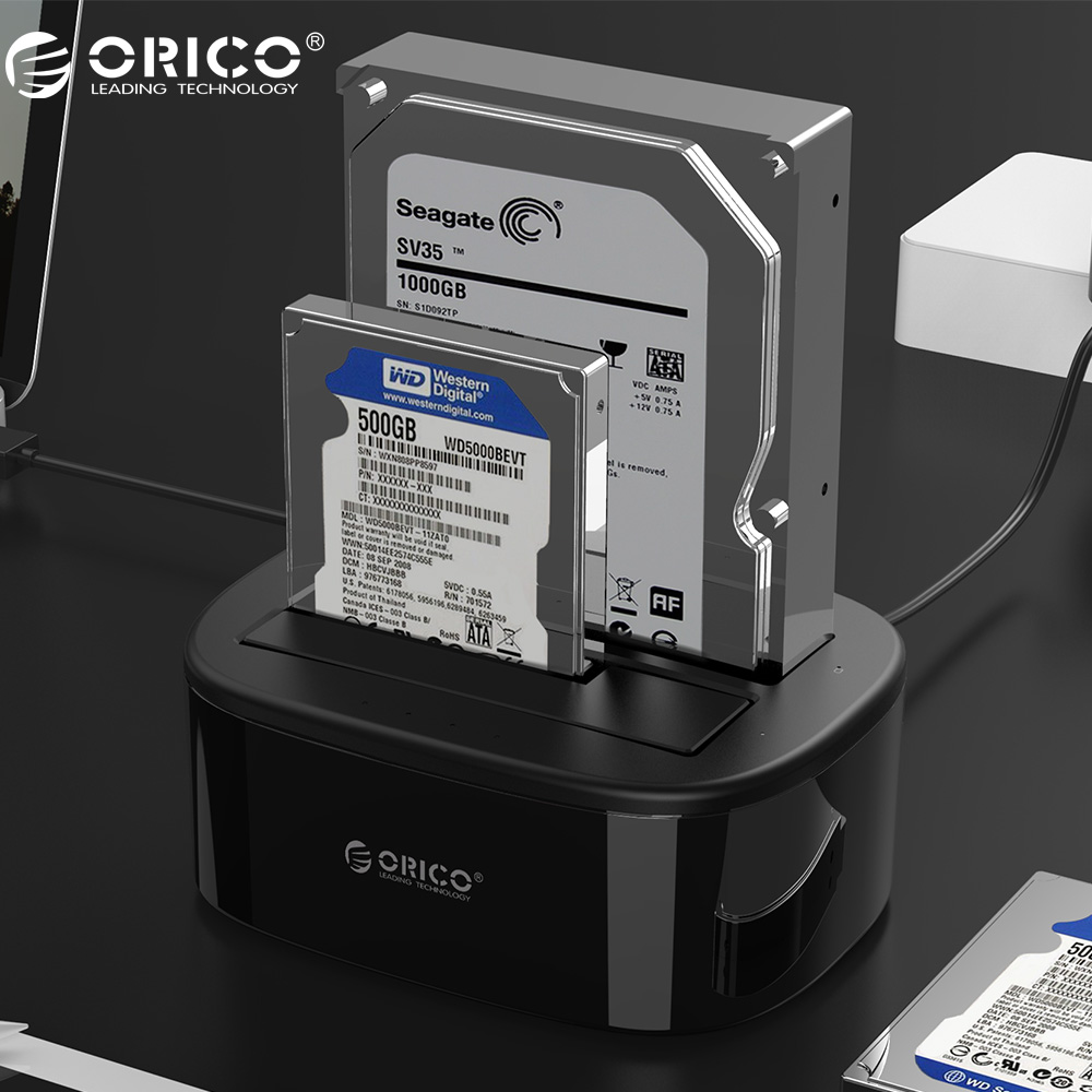 ORICO USB 3.0 to SATA Dual-Bay Hard Drive Docking Station for 2.5/3.5 inch HDD/SSD with Offline Clone Function [UASP Protocol] yottamaster aluminum hdd case 5 bay 3 5 inch 5gbps usb3 0 to sata hdd docking station hard drive enclosure support 50tb for pc