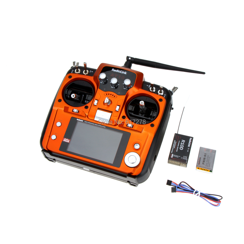 Free shipping RadioLink AT10 2 4G AT10 Radio Control System 10CH Transmitter Receiver TX Mode 1