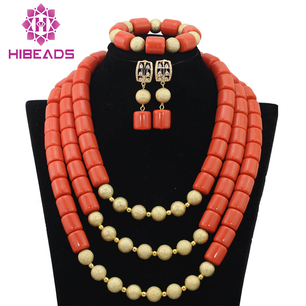 African Nigerian Wedding Coral Beads Jewelry Set 3 Rows Artificial Coral Gold Dubai Bridal Jewelry Set Free Shipping CNR343African Nigerian Wedding Coral Beads Jewelry Set 3 Rows Artificial Coral Gold Dubai Bridal Jewelry Set Free Shipping CNR343