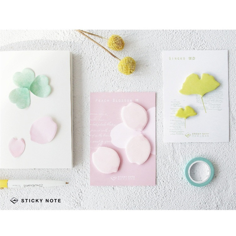 24 pcs/Lot Flower & Leaf sticky notes Clover Sakura stickers Post memo pad Stationery Office material School supplies DM674