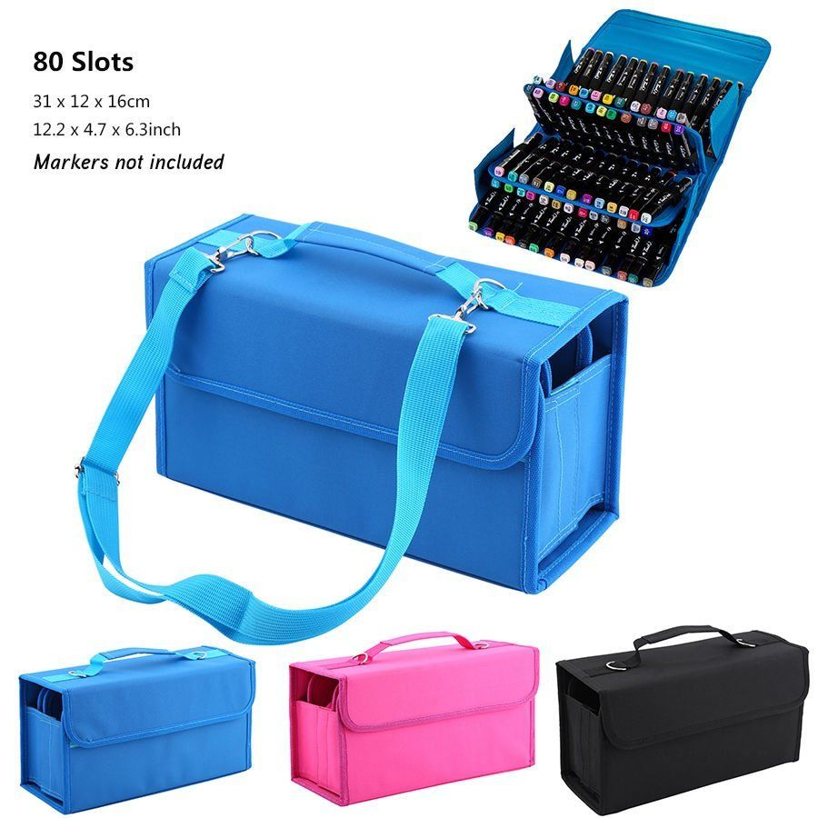 Touch five Durable 80 Marker Storage for Markers Carrying Bag Pencil Case for Organizer Stationery spark storage bag portable carrying case storage box for spark drone accessories can put remote control battery and other parts