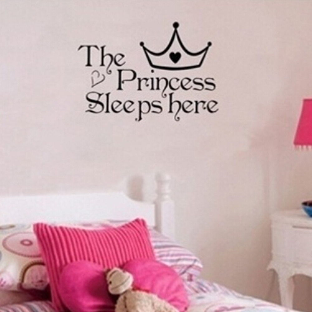 The Princess Wall Stickers Sleeps Here Wall Decals Home Decor Wall Art  Quote Bedroom Wallpaper Wall Sticker 22*36cm HG WS 2315 In Wall Stickers  From Home ...