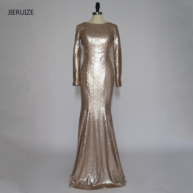 Avond Galajurken.Jieruize Champagne Gold Sequin Backless Mermaid Lange Prom Jurken