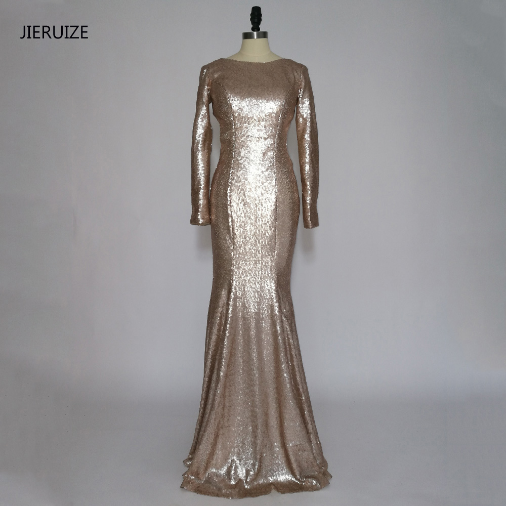 832bc790e2 JIERUIZE Champagne Gold Sequin Backless Mermaid Long Prom Dresses Long  Sleeves Low Back Evening Party Dresses Galajurken
