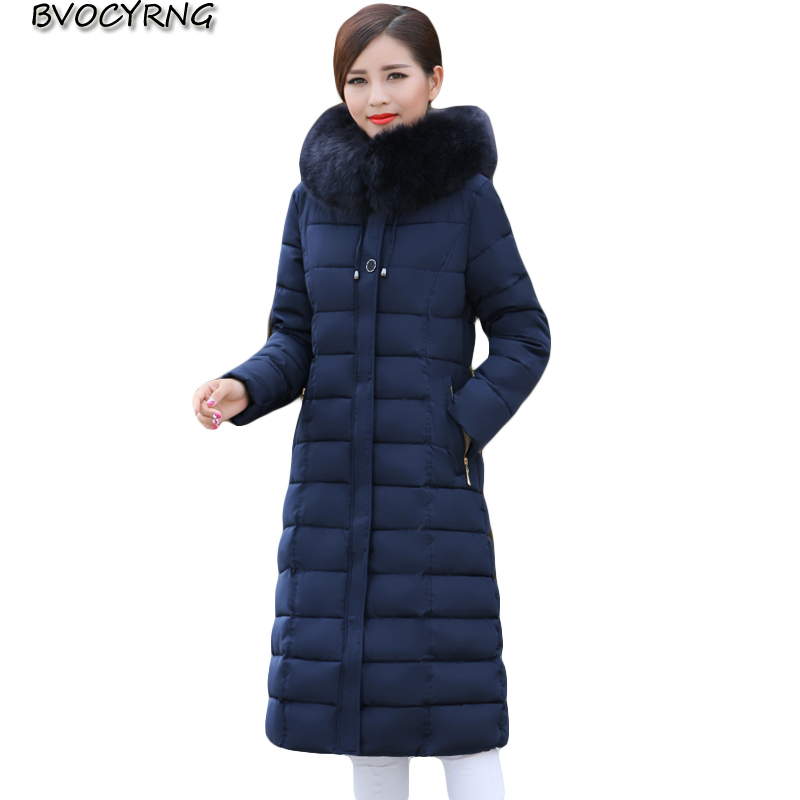 New Winter Fashion Middle-aged Women's Long Cotton Coat Plus Size Thickening Outerwar High Quality Feather Cotton Jacket Q885 new high quality winter women s feather cotton long style coats fashion hooded imitation fox fur collar plus size coat okxgnz857