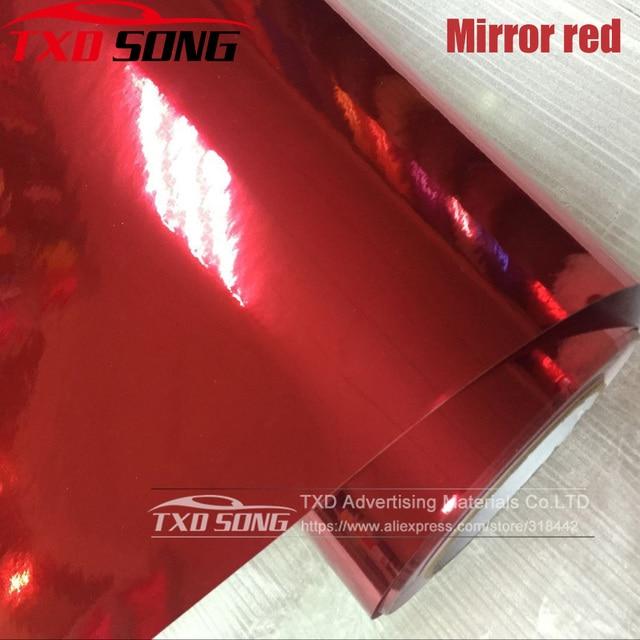 50CM*100/200/300/400/500CM/Roll RED High stretchable Chrome Mirror Vinyl Wrap Sheet Roll Film Car Sticker Decal Sheet