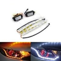 Eyourlife 2Pcs Lot Car Flexible White Amber Switchback LED Daytime Running Light With Turn Signal Lights