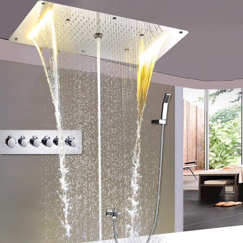 Bathroom Fixtures Big Shower Head Rainfall Mirror Shower Panel Ceiling Bathroom Accessories Shower Set Water Saving Led Light Showerhead 500*360mm We Have Won Praise From Customers Shower Faucets