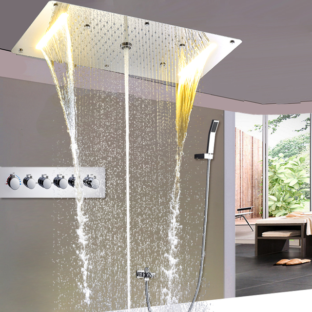 Euorpe Hot And Cold Large Rain Shower Set Concealed Ceiling Shower Head  Faucets Waterfall, Water