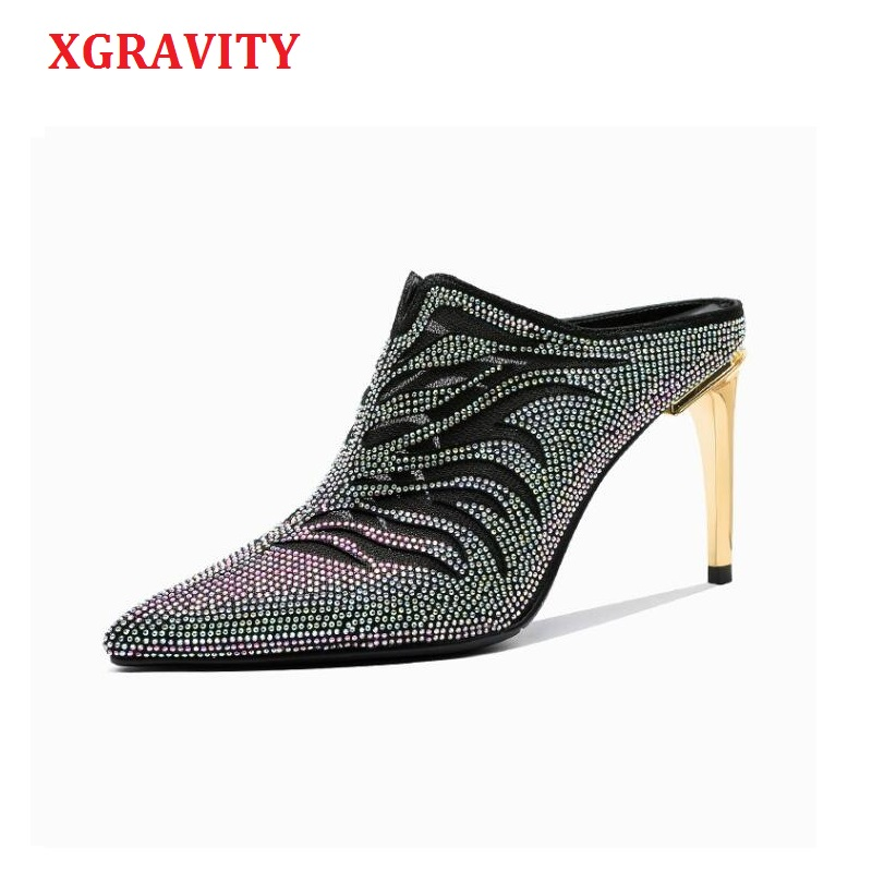 XGRAVITY Crystal Genuine Leather Point Toe Dress Shoes Elegant Fashion High Heel Pumps All Matched Rhinestone Lady Slippers C016XGRAVITY Crystal Genuine Leather Point Toe Dress Shoes Elegant Fashion High Heel Pumps All Matched Rhinestone Lady Slippers C016