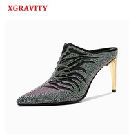 XGRAVITY Crystal Genuine Leather Point Toe Dress Shoes Elegant Fashion High Heel Pumps All Matched Rhinestone Lady Slippers C016