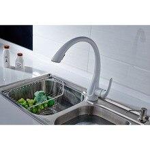 Flg смеситель для кухни вытащить белый Живопись 360 градусов вращающийся бортике Pull Подпушки кухонный кран, Бесплатная доставка раковины водопроводной воды