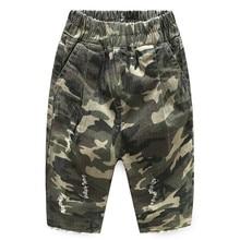 New Boys Shorts 100% Cotton Ripped Camouflage Denim Shorts for Boys 2-7 Years Boys Beach Shorts Girls summer Pants цена