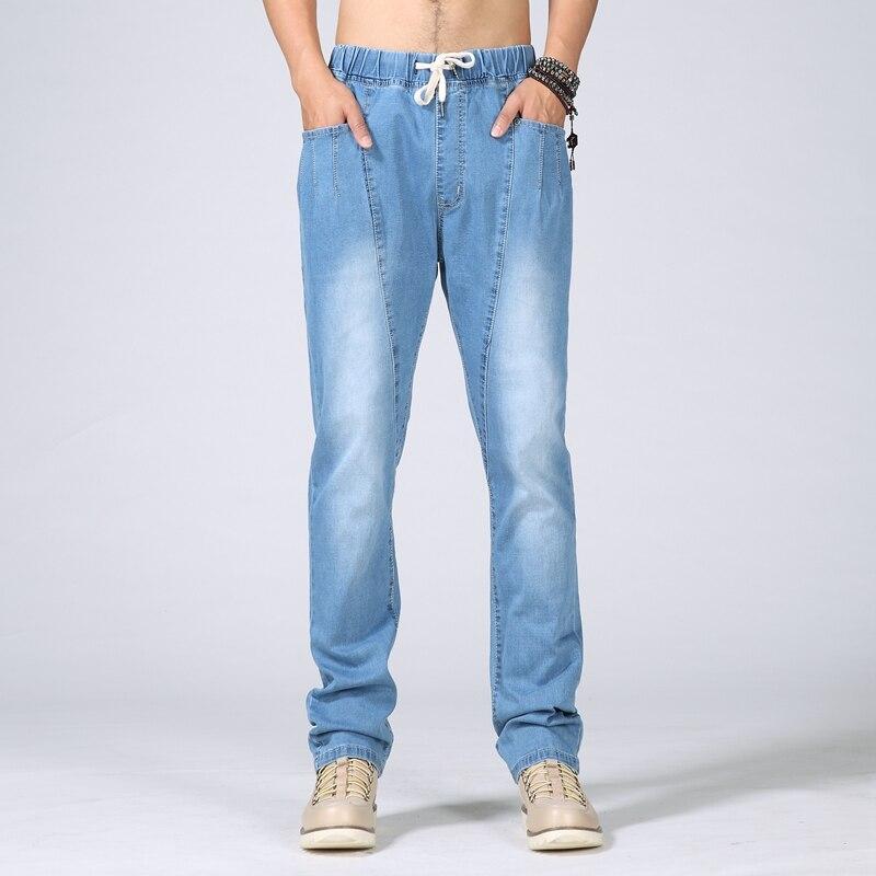 Summer plus size jeans skinny male straight slim elastic waist denim trousers   6XL 5XL 4XL 3XL 2XL