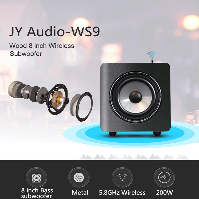 JY Audio WS9 200W 8 inch Wood Bluetooth Wireless Subwoofer Super Bass Hifi Loudspeaker for TV Soundbar Home Theater Sub Woofer