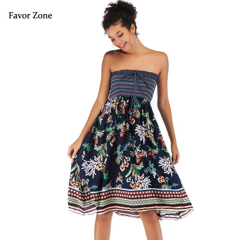 Sexy Wrapped Chest Summer Dress Women Floral Print Chiffon Bohemian Boho Off Shoulder Backless Vintage Party Beach Dresses