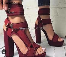 Suede Metal Buckle Strap Chunky Heel  Ankle Strap Platform Sandals