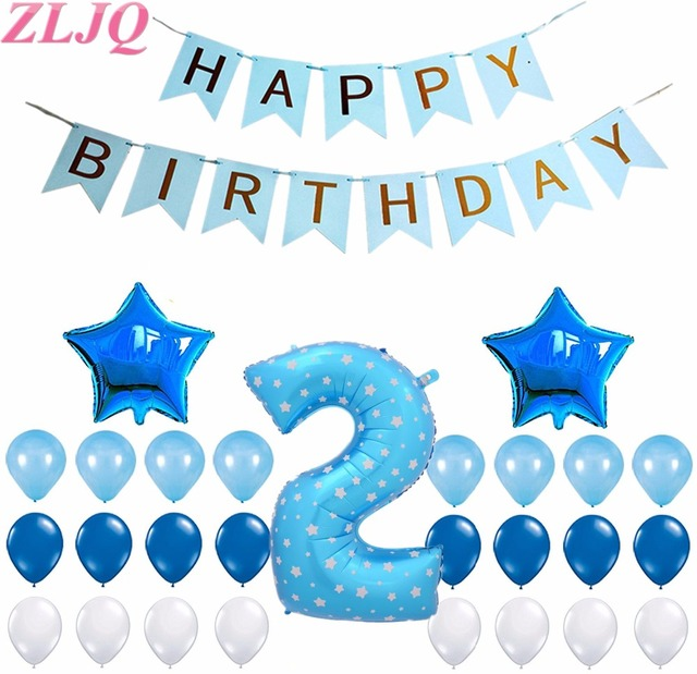 ZLJQ 34pcs Pink Blue Happy Birthday Party Decoration Balloons Kit For Boy Girl 2 Years Old