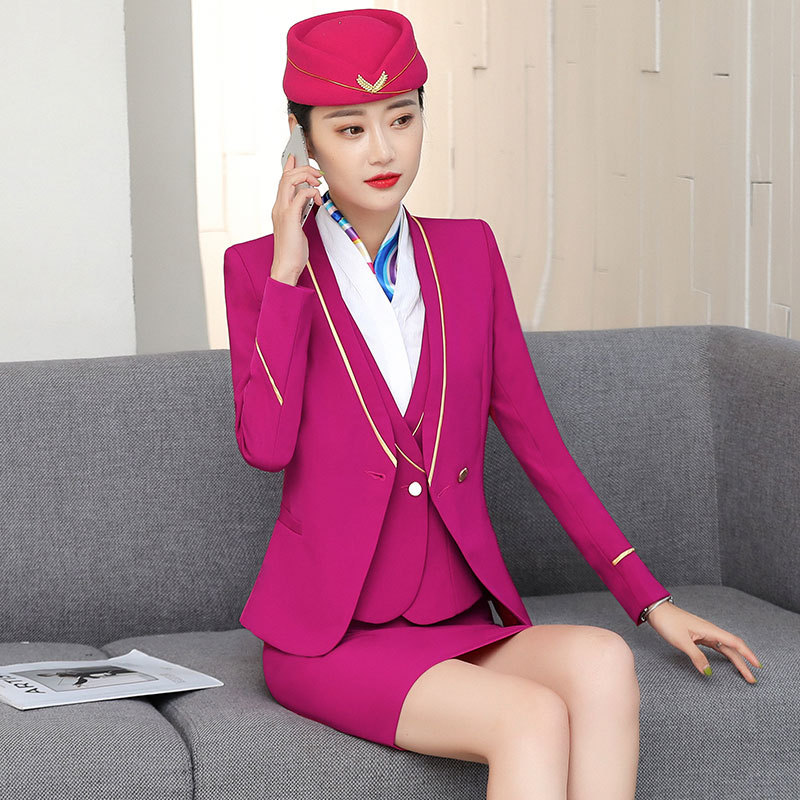 IZICFLY New Formal Business Steward Clothes For Women Suits Office Sets With Skirt Airline Stewardess Elegant Work Wear Big Size