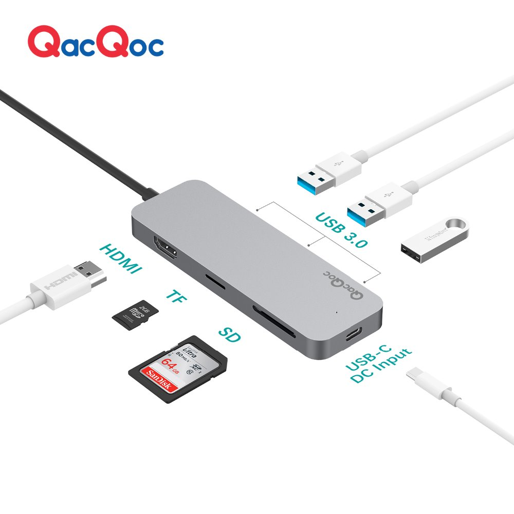 QacQoc GN30C Aluminium alloy USB C Hub with 3 USB 3.0 Ports 4K Output Card Reader Type-C Charging port for Macbook12 hub adapter 3 usb 2 0 ports