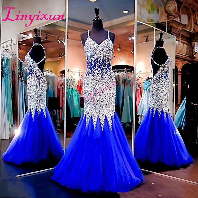 Linyixun Sexy Backless   Prom     Dress   2018 Royal Blue Crystals Long Formal Evening   Dresses   Luxury Straps Robe de Soiree Abendkleider