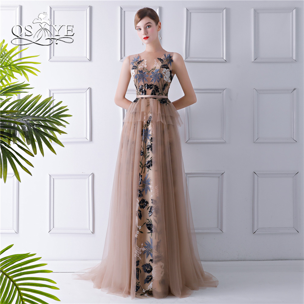 QSYYE 2018 New Fashion Formal   Evening     Dresses   A-line O-neck Sleeveless 3D Lace Tulle Long Prom   Dress   Party Gown