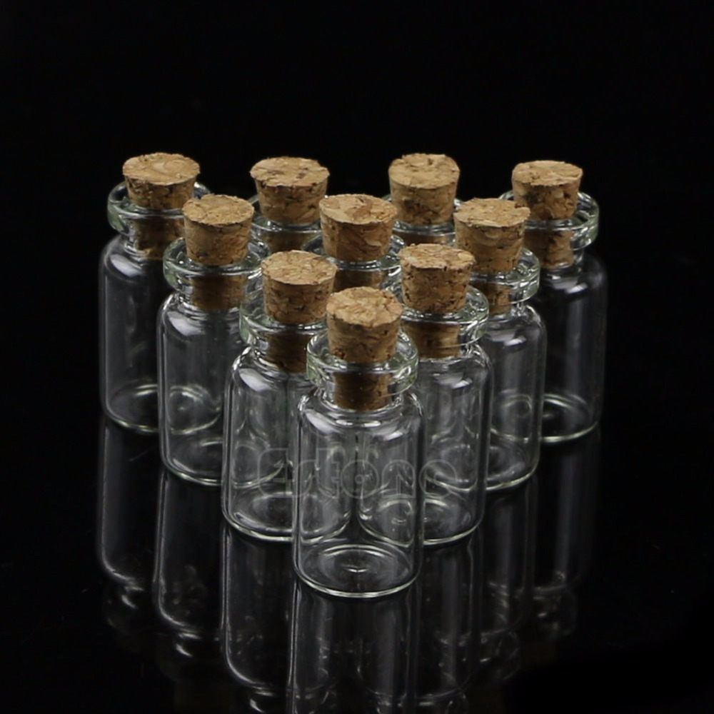 10Pcs 1ml 13*24mm Small Empty Clear Glass Bottles Vials with Cork Storage Crafts #Y207E# Hot Sale wholesale 200pcs 4ml 22 25mm small glass vials with cork tops bottles little empty jars