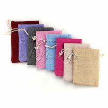 50 adet Vintage doğal çuval bezi hessen hediye şeker çanta düğün parti lehine hediye kesesi jüt hediye keseleri 9cm * 13cm tedarik