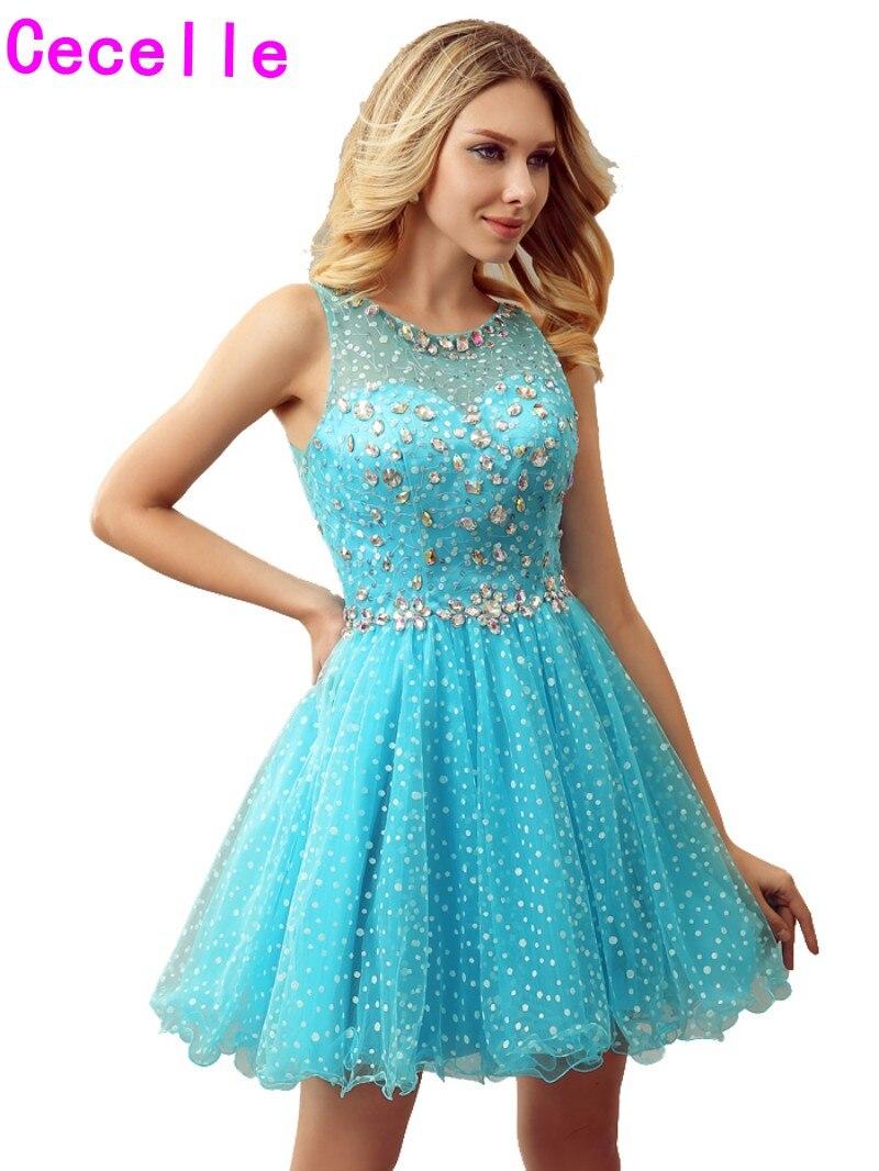 Sparkly Blue A line Short Girls Cocktail Dresses For Juniors Crystal ...