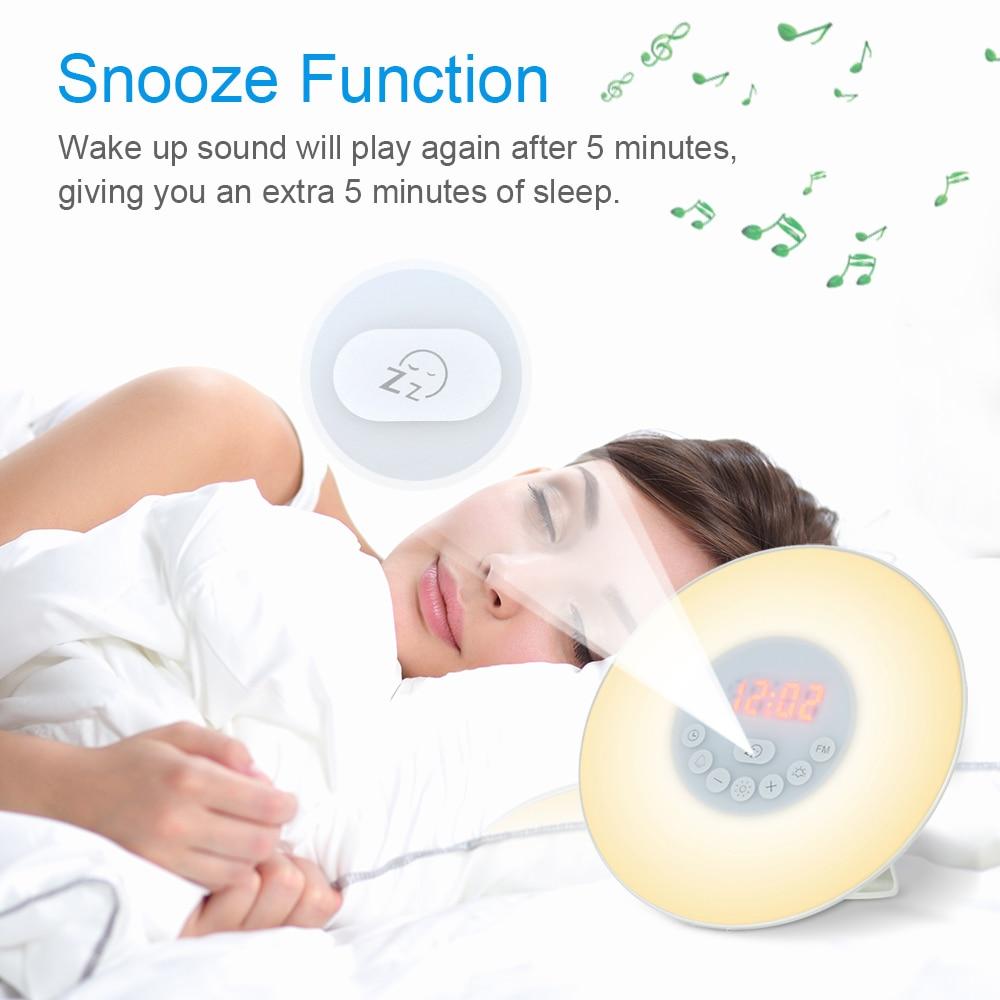 Reloj despertador de luz colorida simulación reloj despertador Digital naturaleza sonidos FM Radio Snooze función Control táctil