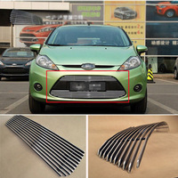 Alloy Aluminium Front Center Racing Mesh Bumper Grills Billet Grille Cover For Ford Fiesta 2009 2012