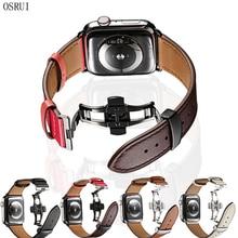 Leather strap for Apple watch band 4 44mm 40mm aplle iwatch correa 42mm 38mm 3 2 Butterfly buckle wrist watchband Bracelet belt все цены