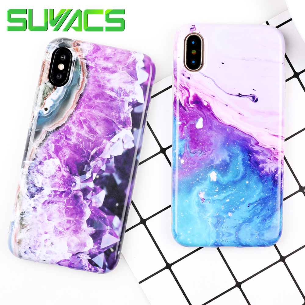 SUYACS Phone Case For iPhone 6 6S 7 8 Plus X Fashion Colorful Gradient Color Marble Glossy Soft IMD Phone Back Cover Cases
