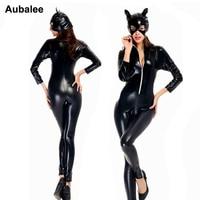 Catwoman Kostuum Sexy Anime Cosplay Movie Kostuums Zwarte Vrouwen Rits Turnpakje Halloween Catwoman Kostuum Omvatten Kat Masker