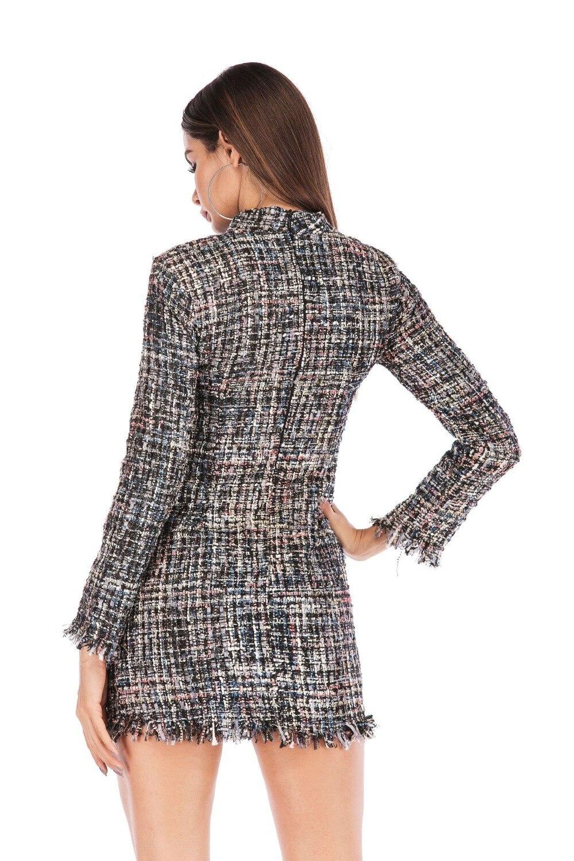 Moulante 02 Femmes Automne Élégant Mini Robe Aprmhisy Robes 03 Rayé Longues Printemps 01 2019 Plaid Nouveau Manches Slim HIED29