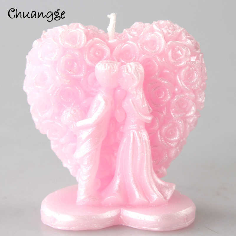 CHUANGGE Groom and Bride Candles 3D Pink rose pearls Pattern Romance Wedding Celebration Decoration for Wedding Cake Anniversary
