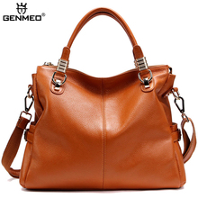 GENMEO New Arrival Genuine Leather Handbag Women Luxury Shoulder Bags Female Fashion Cowhide Leather Tote Bag Bolsa Feminina new brand women handbag top natural cowhide women messenger bags luxury genuine leather shoulder bag fashion female tote bag