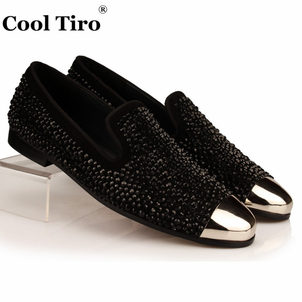 COOL TIRO Black Rhinestones Slide Slippers Crystals Strass Men Loafers Leather Slip on Shoes Suede Dress