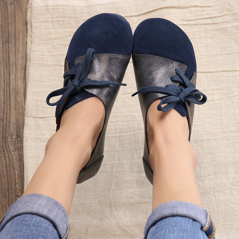 2018 ربيع جديد الأصلي اليدوية خمر جلدية أحذية نسائية جولة رئيس سير منبسط مع لينة أسفل الأدبي سين حذا فردي للسيدات-في أحذية نسائية مسطحة من أحذية على  مجموعة 1
