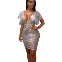 MUXU sexy transparent dress club wear short glitter silver fashion woman clothes vestido ukraine party bodycon ladies dresses