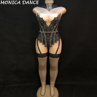 Women Sexy Stage Bodysuit & Yarn Skirt Sparkling Crystals Jumpsuit Nightclub Birthday Wedding Party Wear Dancer Singer Costumes