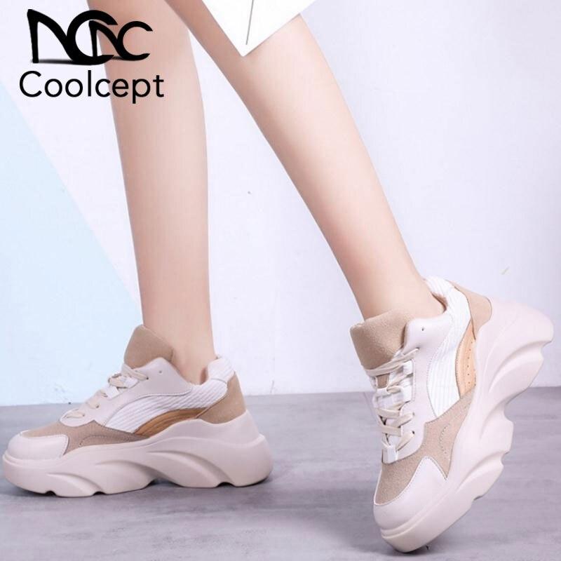 CooLcept женские босоножки на высоком каблуке; брендовые кроссовки Новый стиль Повседневное; туфли с подошвой из вулканизированной резины Для женщин на каждый день со шнуровкой Пеший Туризм леди обувь для улицы Размер 35–40